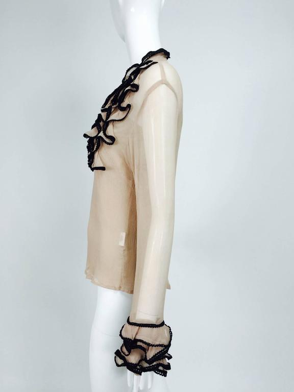 Women's Lloyd Klein nude silk gauze ruffle front blouse & matching camisole For Sale