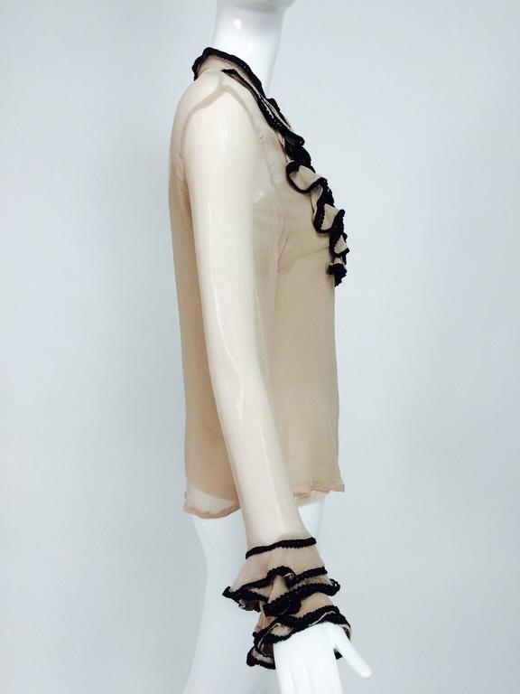 Lloyd Klein nude silk gauze ruffle front blouse & matching camisole 6