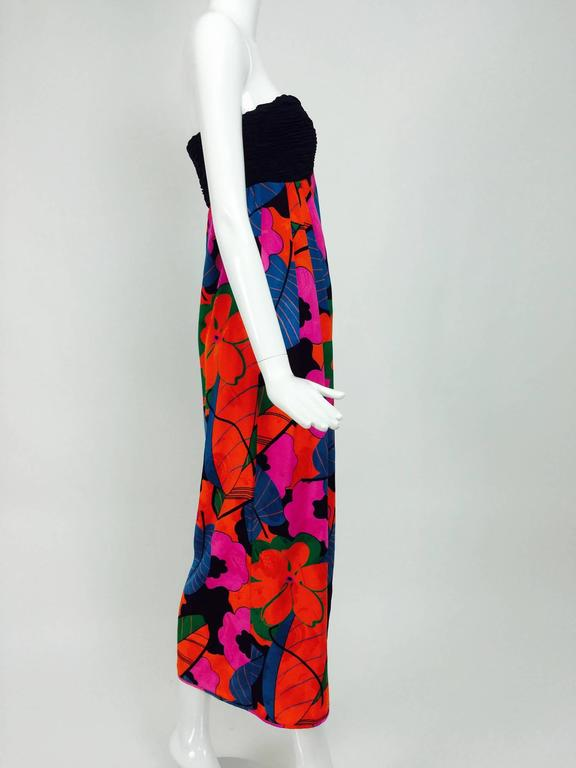 Black Emanuel Ungaro Parallele hot tropical print strapless maxi dress 1970s For Sale