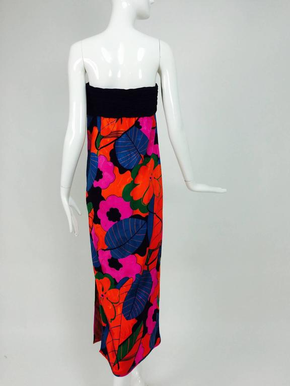 Emanuel Ungaro Parallele hot tropical print strapless maxi dress 1970s For Sale 1