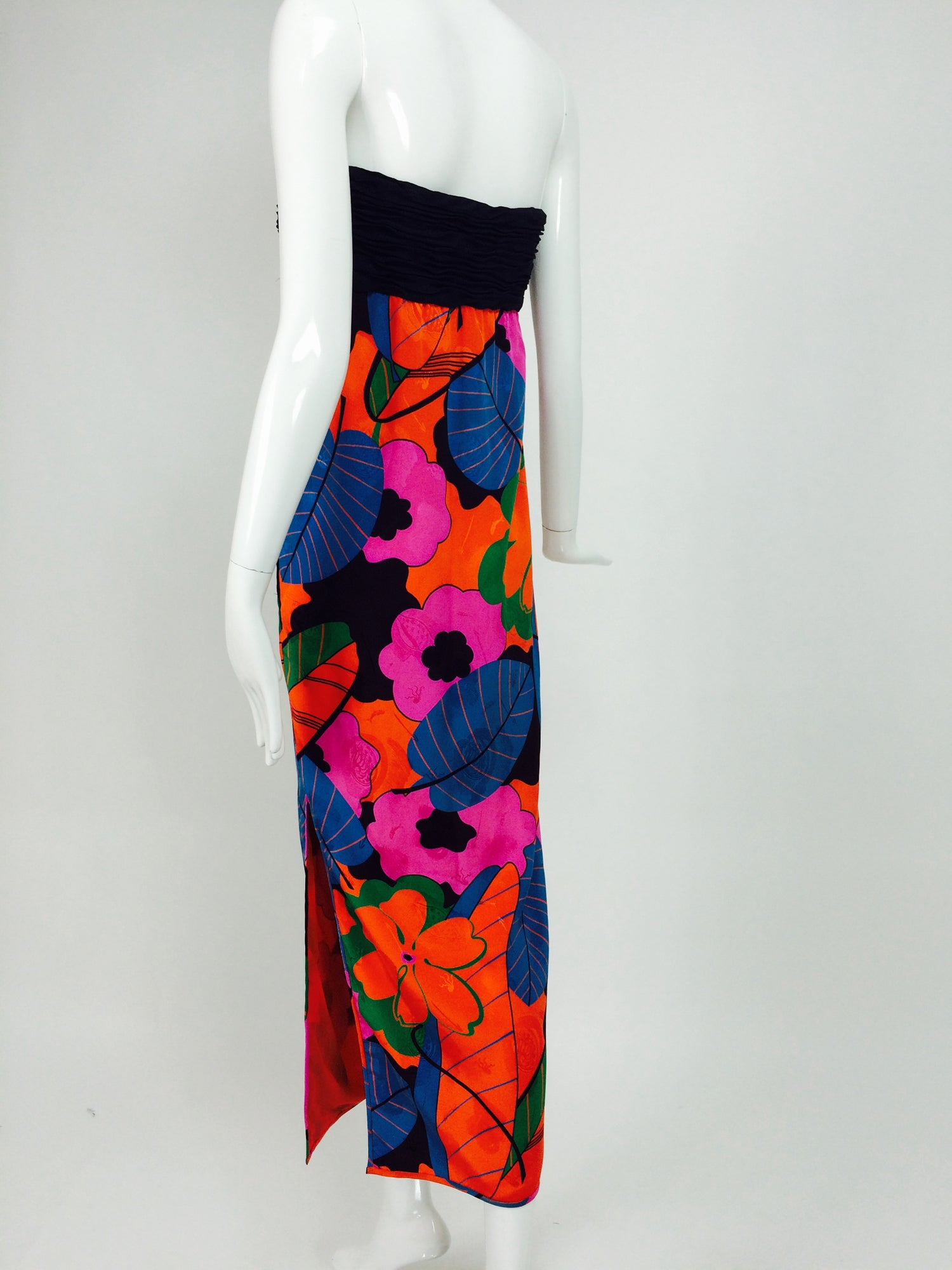 064bac34ec23f Emanuel Ungaro Parallele hot tropical print strapless maxi dress 1970s For  Sale at 1stdibs