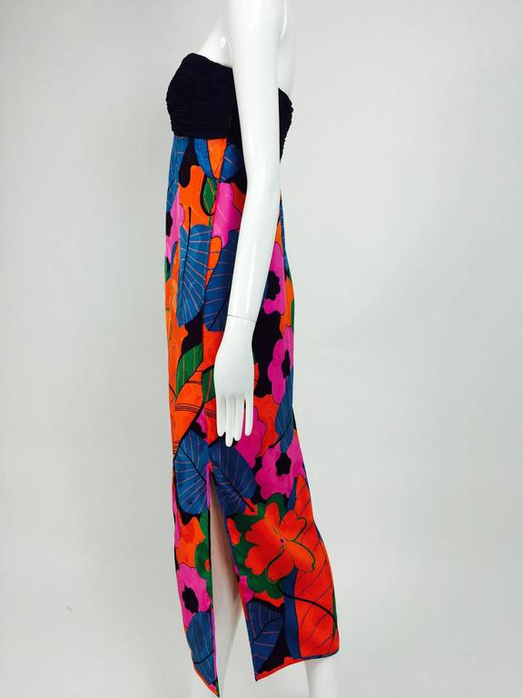Emanuel Ungaro Parallele hot tropical print strapless maxi dress 1970s For Sale 3