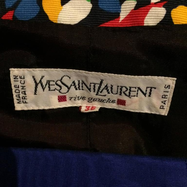 Yves Saint Laurent floral print scoop neck jacket & original belt early 80s For Sale 3