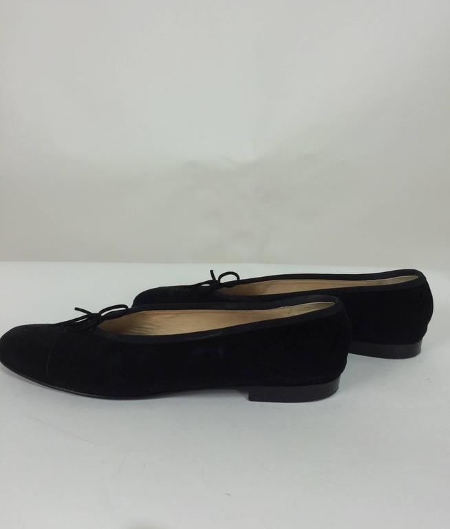 Chanel black suede logo toe ballet flats 40 1/2 M 2