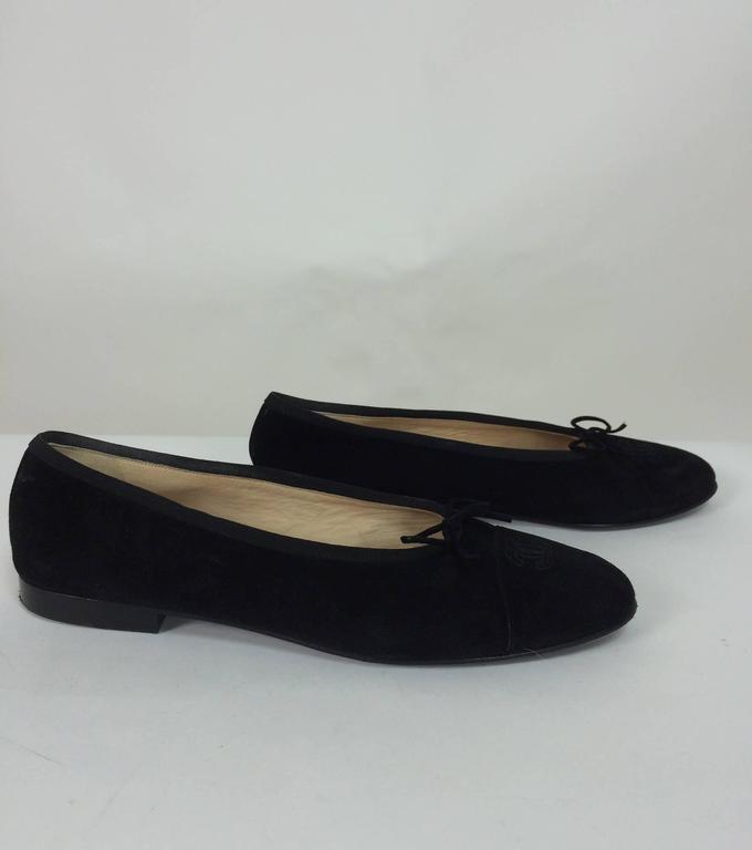 Chanel black suede logo toe ballet flats 40 1/2 M 3