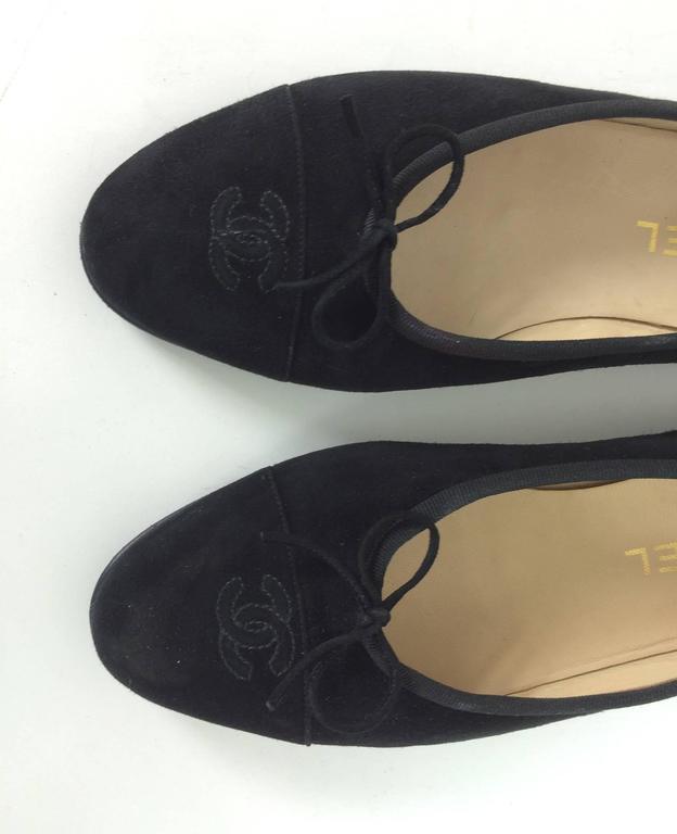 Chanel black suede logo toe ballet flats 40 1/2 M 4
