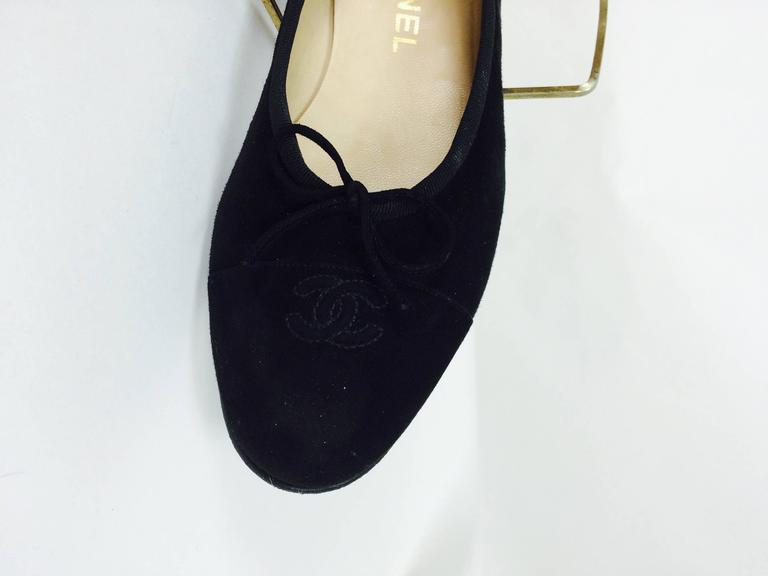 Chanel black suede logo toe ballet flats 40 1/2 M 5