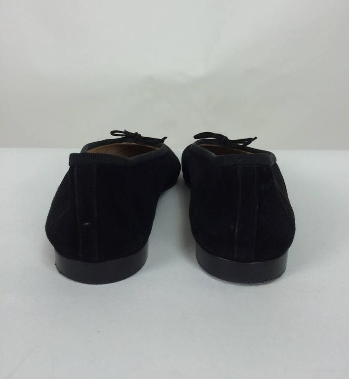 Chanel black suede logo toe ballet flats 40 1/2 M 6