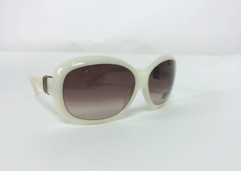 08afba821e Women s David Yurman cream sunglasses with Sterling silver   gold bands NWT  For Sale