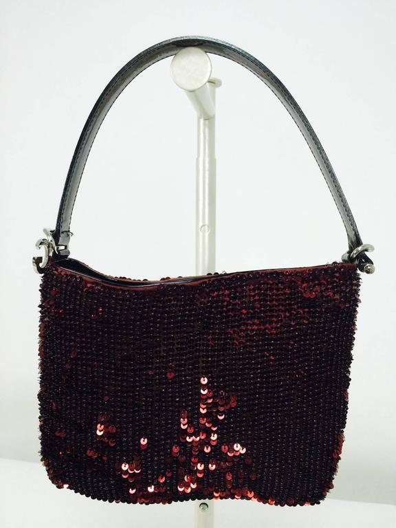 Black Dolce & Gabbana garnet red sequin & patent shoulder handbag silver hardware For Sale