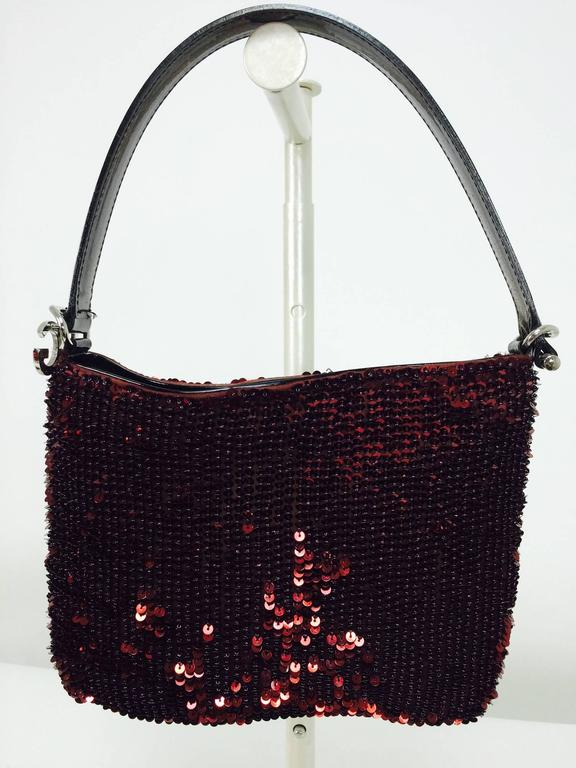 Dolce & Gabbana garnet red sequin & patent shoulder handbag silver hardware In Excellent Condition For Sale In West Palm Beach, FL