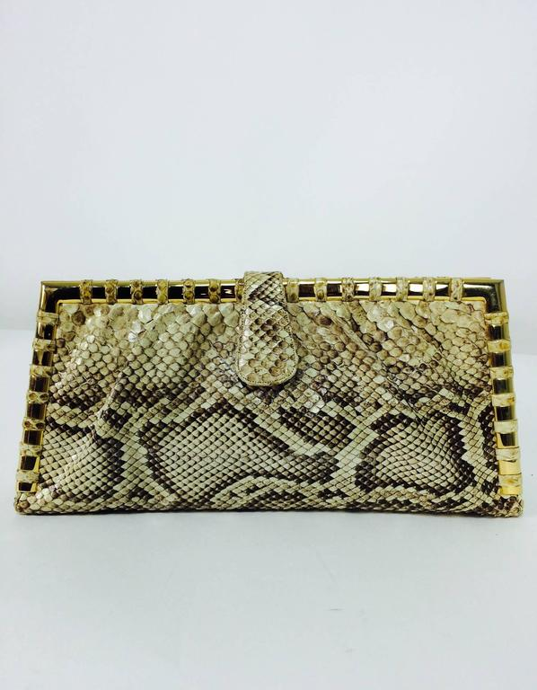 Brown Judith Leiber natural python gold frame snake chain handbag or clutch  For Sale
