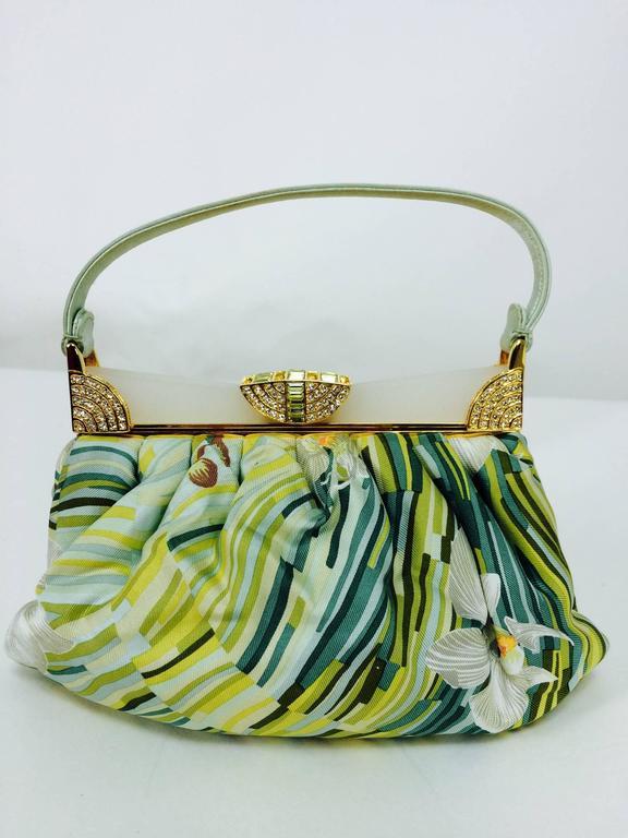 Brown Judith Leiber plexiglass & jewel frame silk tropical orchid print handbag  For Sale