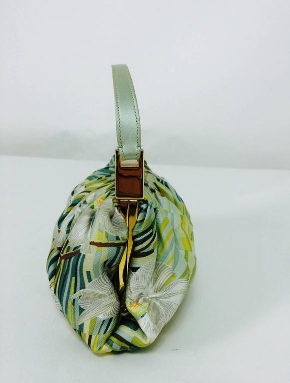 Women's Judith Leiber plexiglass & jewel frame silk tropical orchid print handbag  For Sale
