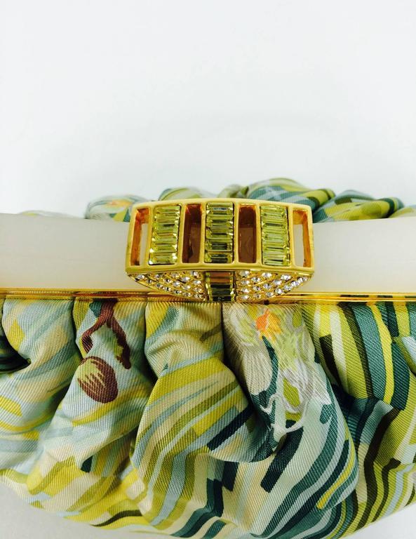 Judith Leiber plexiglass & jewel frame silk tropical orchid print handbag  For Sale 2
