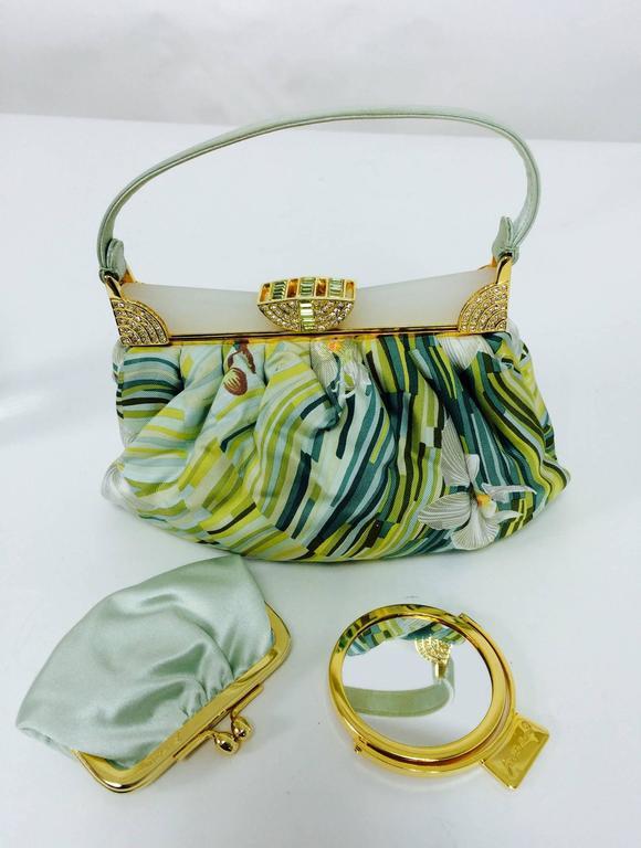 Judith Leiber plexiglass & jewel frame silk tropical orchid print handbag  For Sale 3