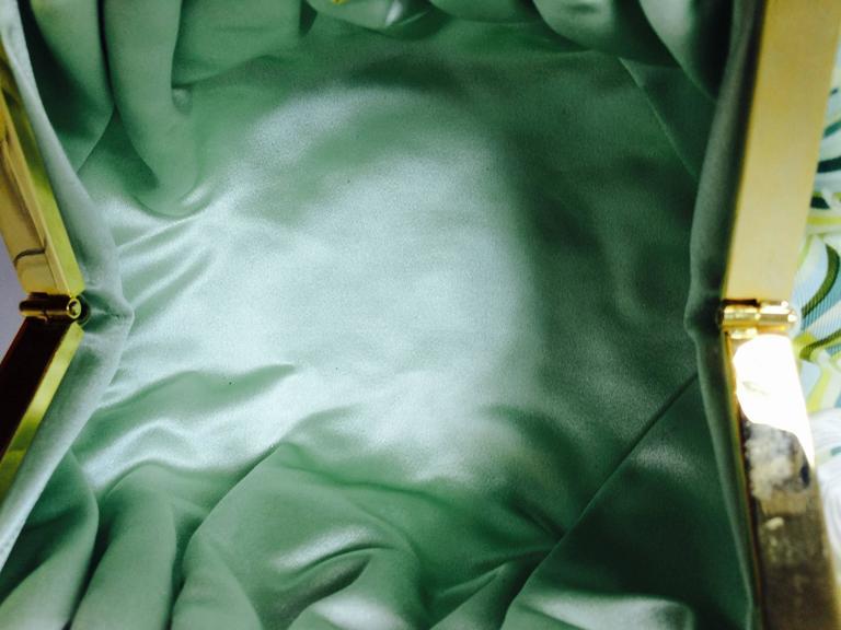 Judith Leiber plexiglass & jewel frame silk tropical orchid print handbag  For Sale 4