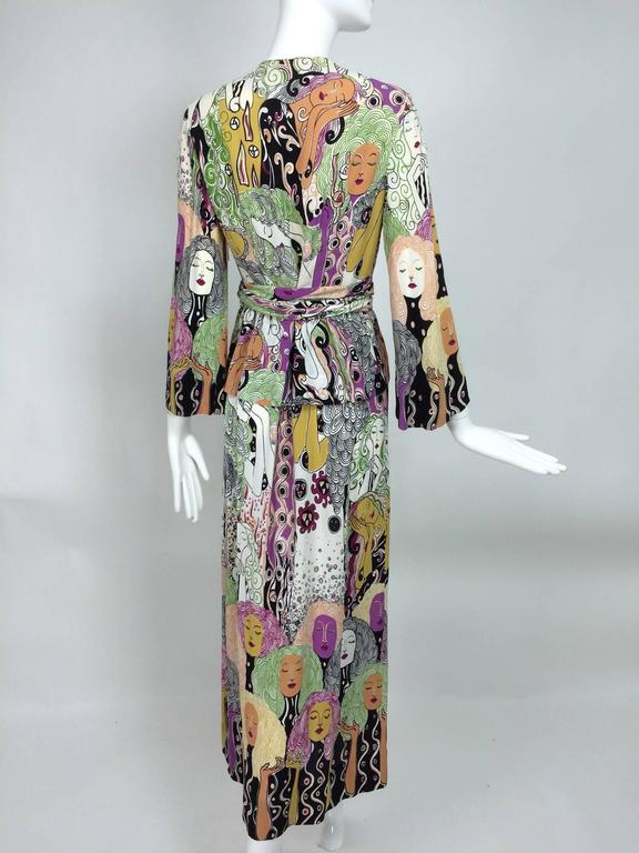 Art Nouveau Style Womens Faces Crepe Print Wrap Waist