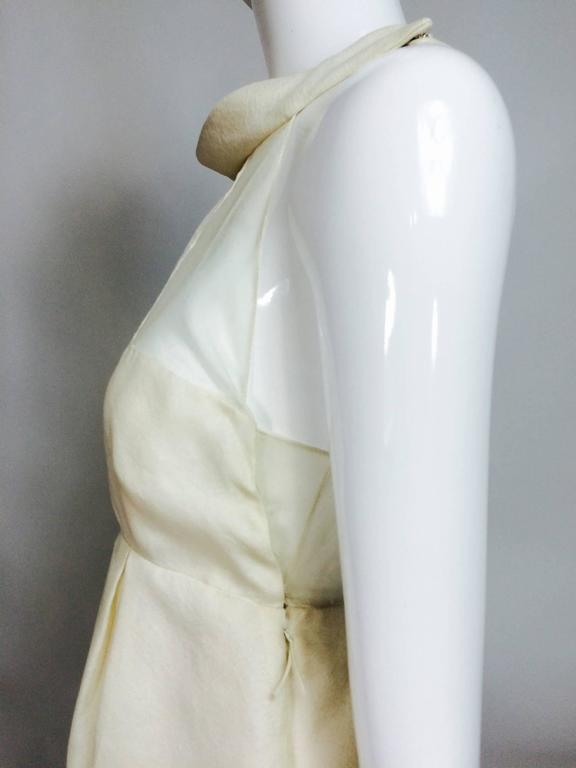 J Mendel ivory silk pearl hem sheer bodice mini dress  In Excellent Condition For Sale In West Palm Beach, FL