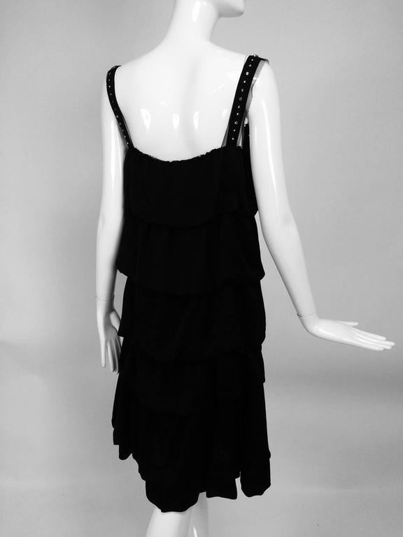 Lanvin Paris black silk tiered ruffle rhinestone shoulder 20s influenced dress In Excellent Condition For Sale In West Palm Beach, FL