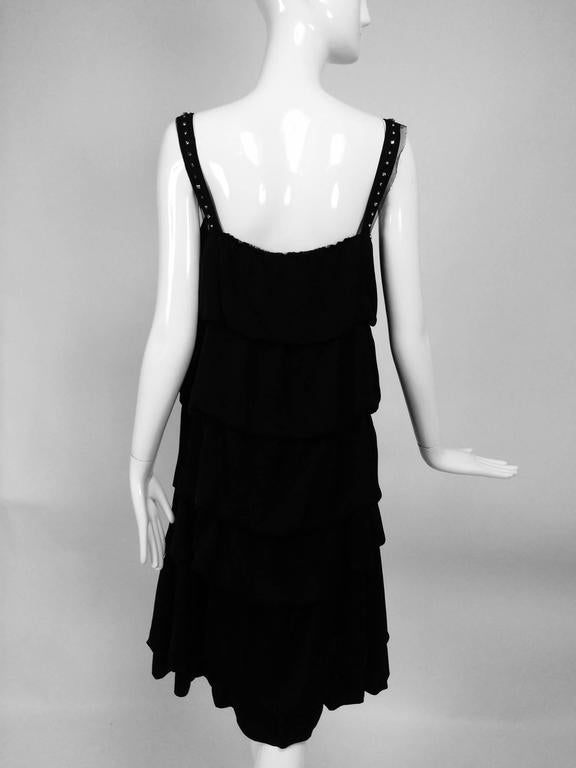 Women's Lanvin Paris black silk tiered ruffle rhinestone shoulder 20s influenced dress For Sale