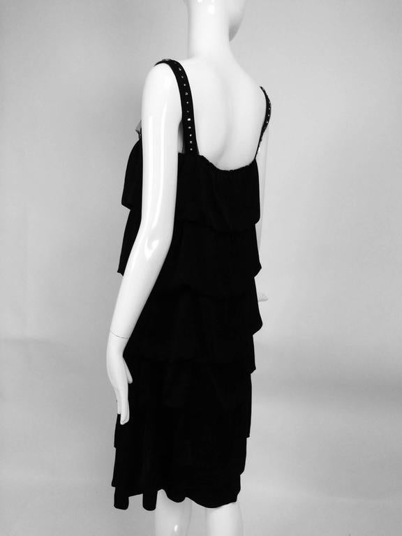 Lanvin Paris black silk tiered ruffle rhinestone shoulder 20s influenced dress For Sale 1