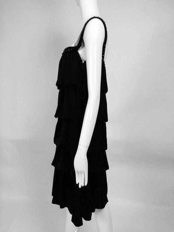 Lanvin Paris black silk tiered ruffle rhinestone shoulder 20s influenced dress For Sale 2