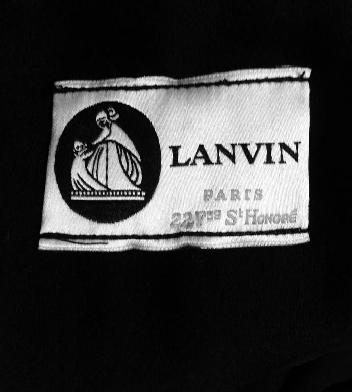 Lanvin Paris black silk tiered ruffle rhinestone shoulder 20s influenced dress For Sale 5