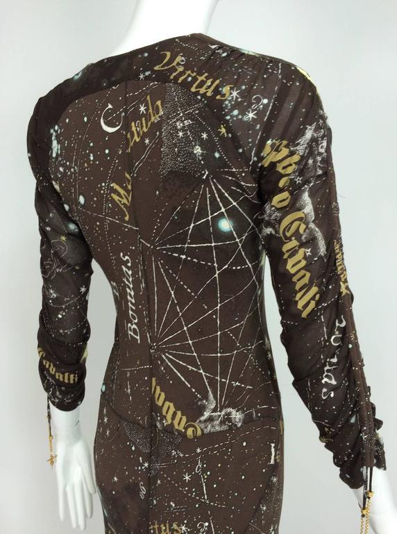Roberto Cavalli rare chocolate brown silk Constellation dress 1990s  3