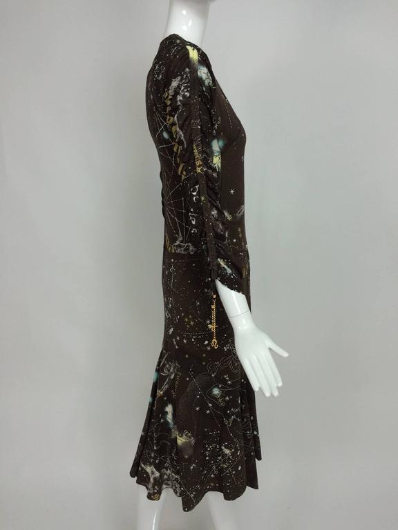 Roberto Cavalli rare chocolate brown silk Constellation dress 1990s  5