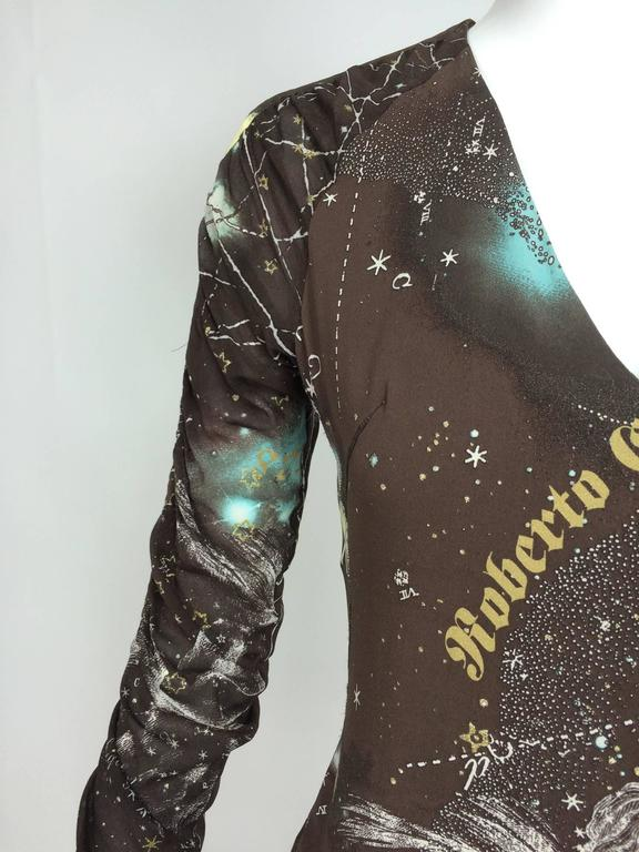 Roberto Cavalli rare chocolate brown silk Constellation dress 1990s  7