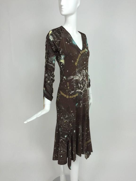 Roberto Cavalli rare chocolate brown silk Constellation dress 1990s  8