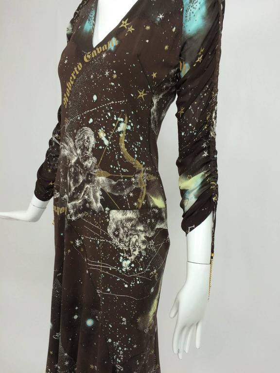Roberto Cavalli rare chocolate brown silk Constellation dress 1990s  9