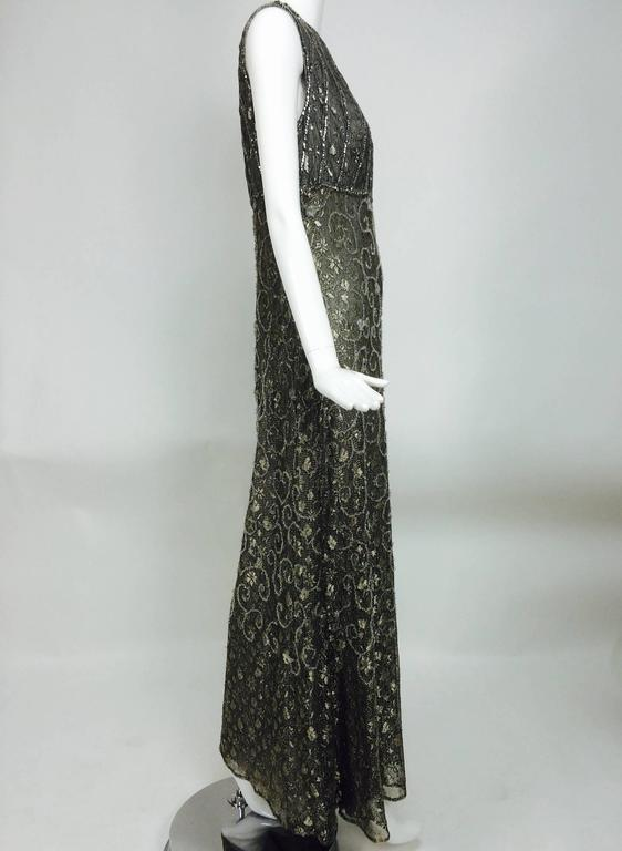 Badgley Mischka embroidered & beaded silver metallic lace gown 2