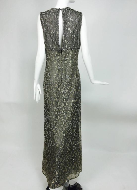 Badgley Mischka embroidered & beaded silver metallic lace gown 4