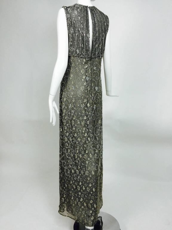 Badgley Mischka embroidered & beaded silver metallic lace gown 5