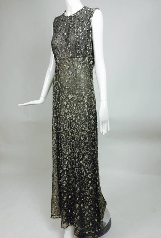 Badgley Mischka embroidered & beaded silver metallic lace gown 6
