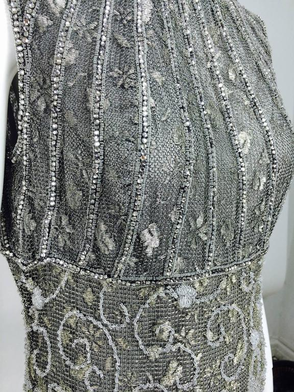 Badgley Mischka embroidered & beaded silver metallic lace gown 7