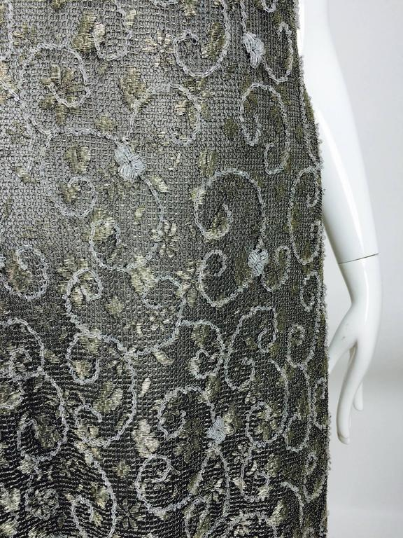 Badgley Mischka embroidered & beaded silver metallic lace gown 8
