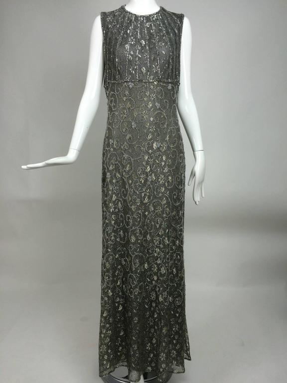 Badgley Mischka embroidered & beaded silver metallic lace gown 9