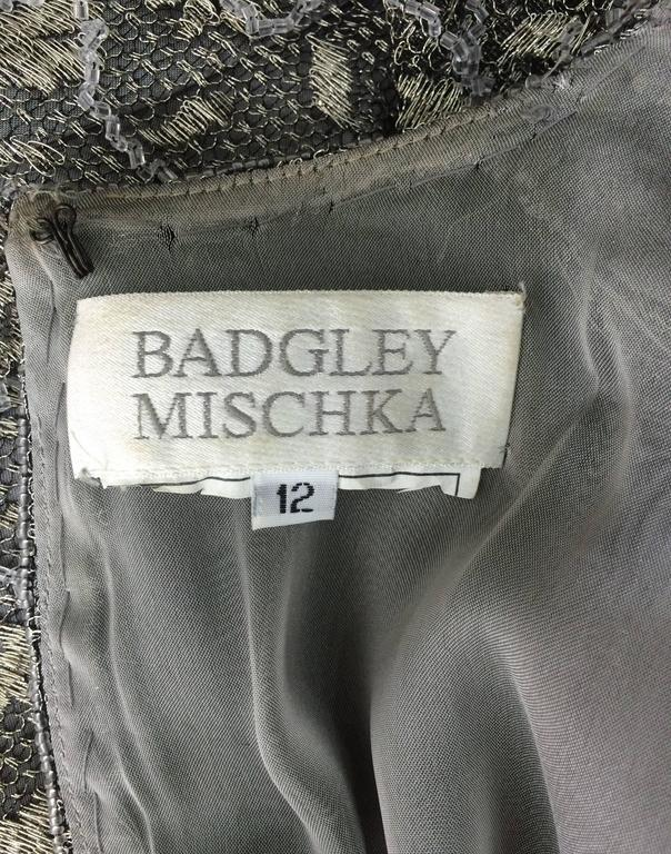Badgley Mischka embroidered & beaded silver metallic lace gown 10