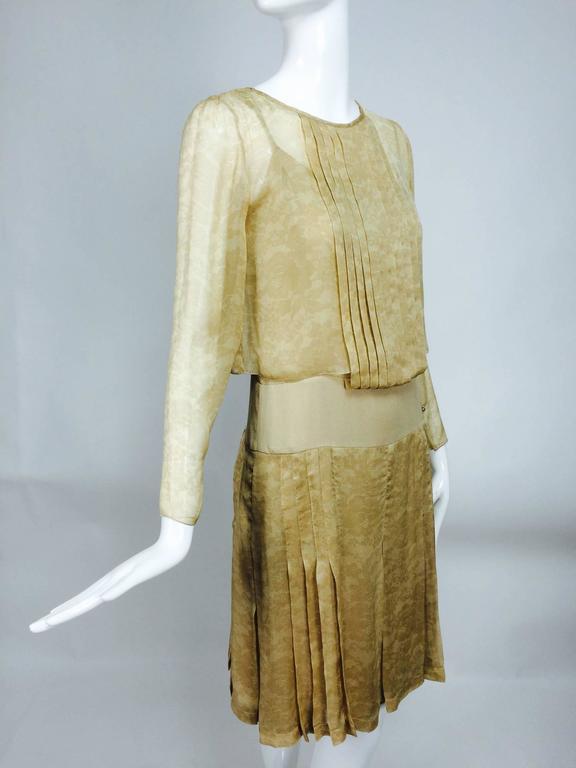 Chanel Long Sleeve Lace Print Champagne Silk Chiffon