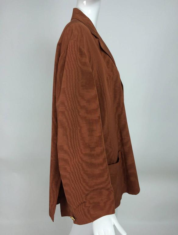 Brown Romeo Gigli jewel button cocoa moire single breasted jacket vintage For Sale