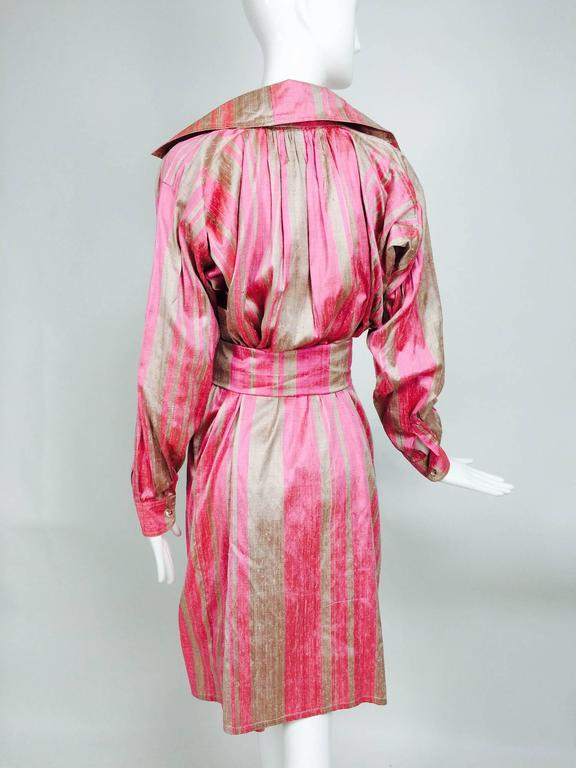 Vintage raw silk pink/bone shift dress with wide waist wrap 1970s In Excellent Condition For Sale In West Palm Beach, FL