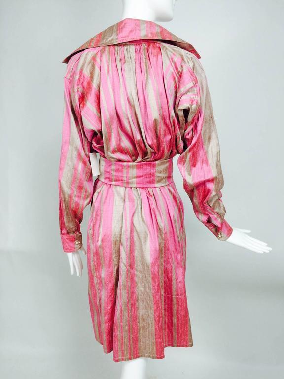 Women's Vintage raw silk pink/bone shift dress with wide waist wrap 1970s For Sale