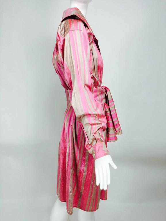 Vintage raw silk pink/bone shift dress with wide waist wrap 1970s For Sale 1