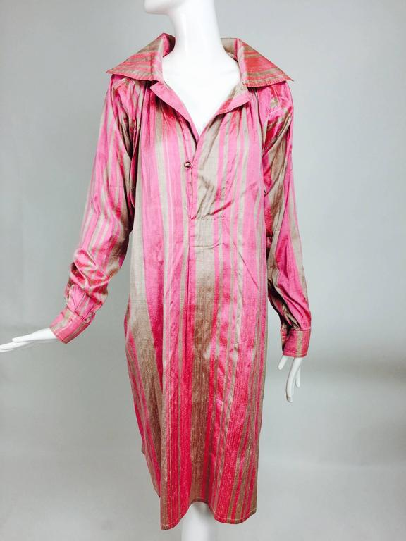 Vintage raw silk pink/bone shift dress with wide waist wrap 1970s For Sale 3