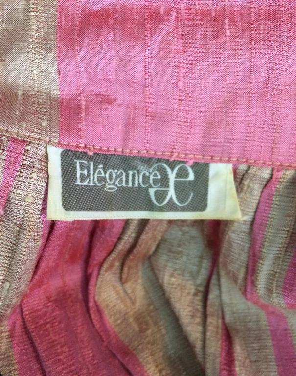 Vintage raw silk pink/bone shift dress with wide waist wrap 1970s For Sale 4