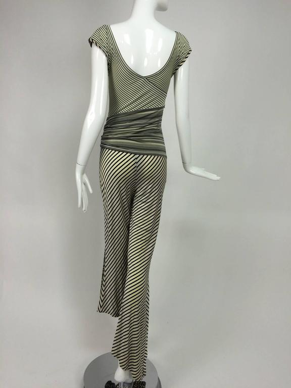 Vintage JIKI Monte Carlo Body con striped asymmetrical hem jumpsuit 1980s 5