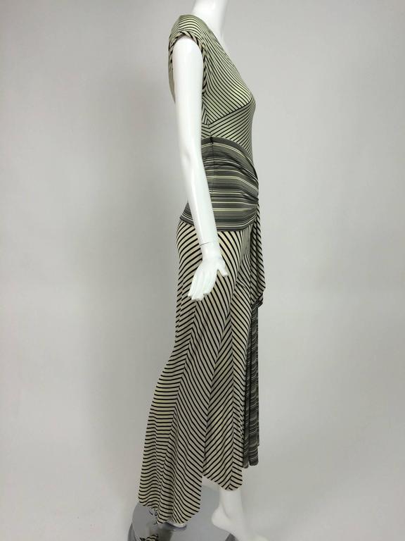 Vintage JIKI Monte Carlo Body con striped asymmetrical hem jumpsuit 1980s 8